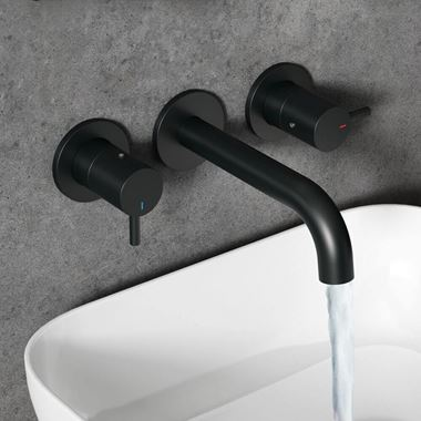 Vellamo Twist Matt Black 3 Hole Wall Mounted Tap with Easy Plumb Installation Kit